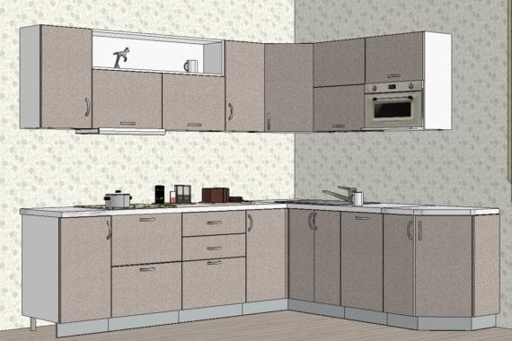 Светлая угловая кухня из МДФ